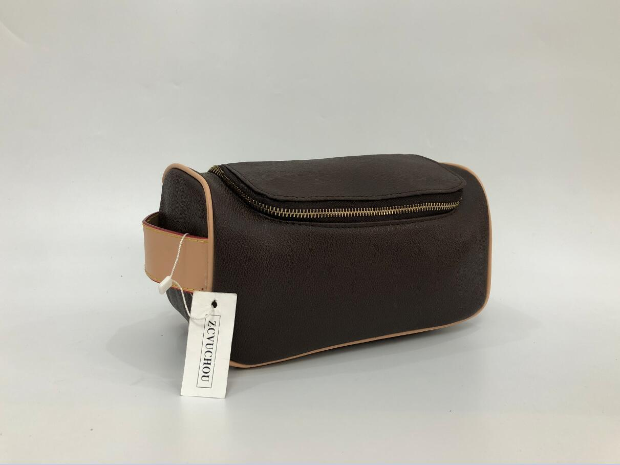 cerniera singola borsa trucco vera pelle di 2020 nuove borse borsa da viaggio borsa pochette cosmetici print designer lettera