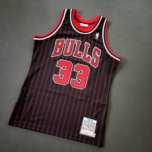 Pas cher 100% Cousu Scottie Pippen Mitchell Ness 95 96 CHI Jersey Taille XS-5XL 52 Hommes Top maillots de basket-ball Throwbacks