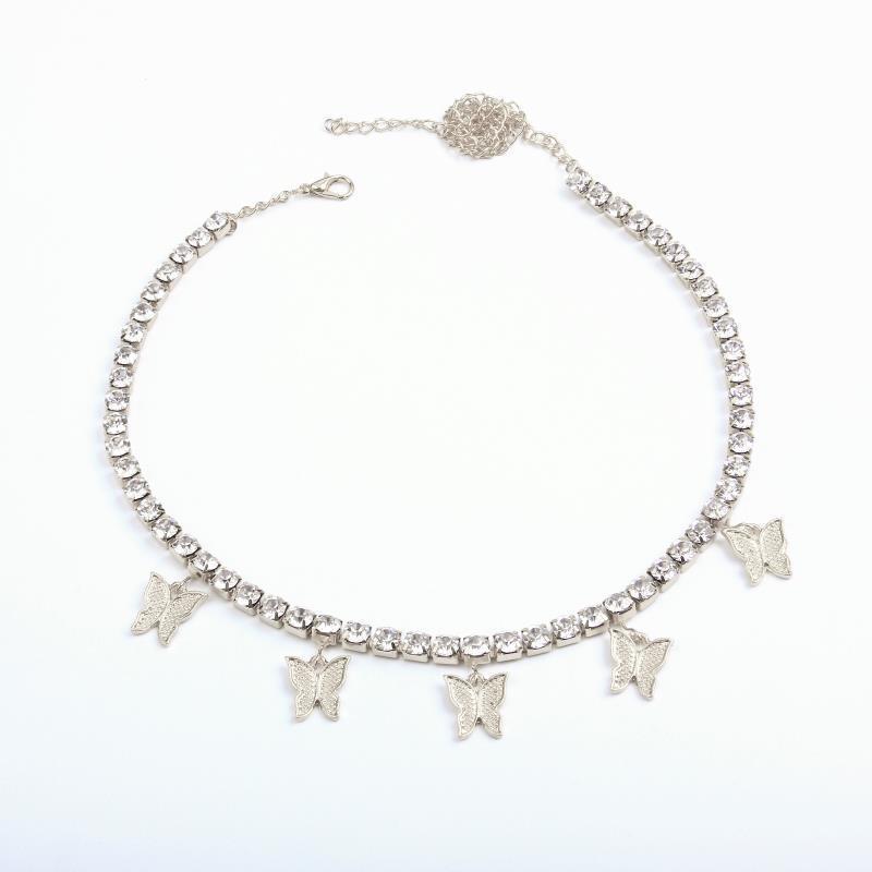 Роскошные женские подарки ювелирные изделия Choker девушки серебряные кулонные бабочки из золотых цепей горный хрусталь гребня со льдом ожерелье из ожерелья мода для ANI BBTU