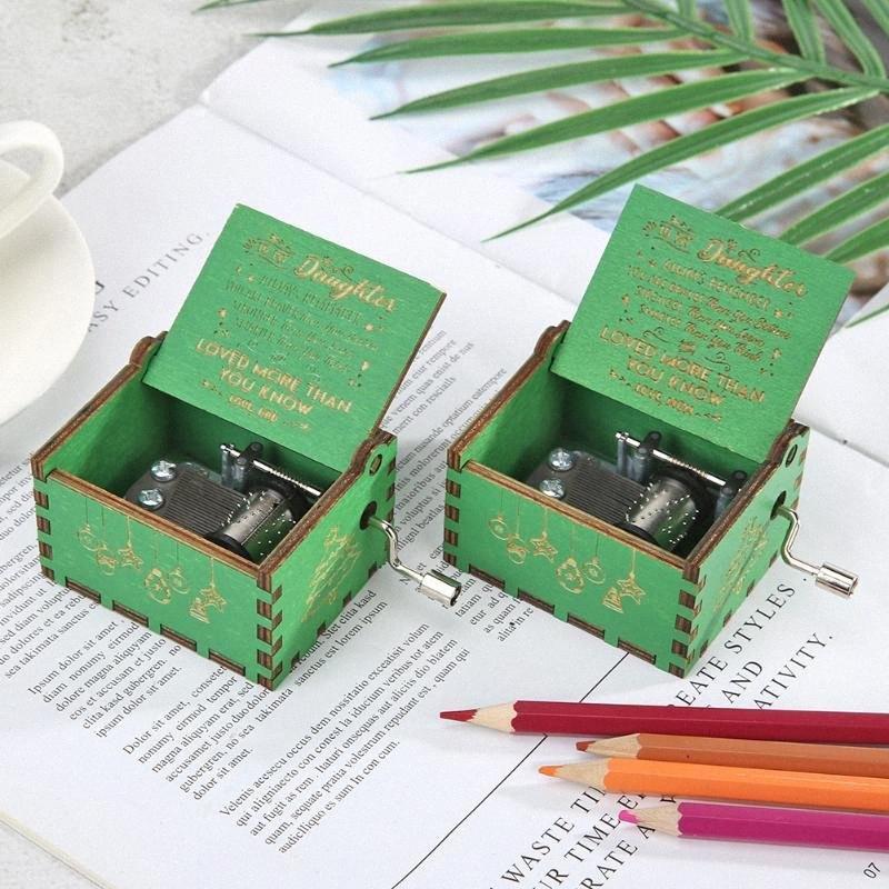 Retro Wood Green Board Music Box Accessoires pour boîte à musique à manivelle de Noël pour enfants Kid cadeau Accueil Party Cadeaux Décorations de Noël riFP #