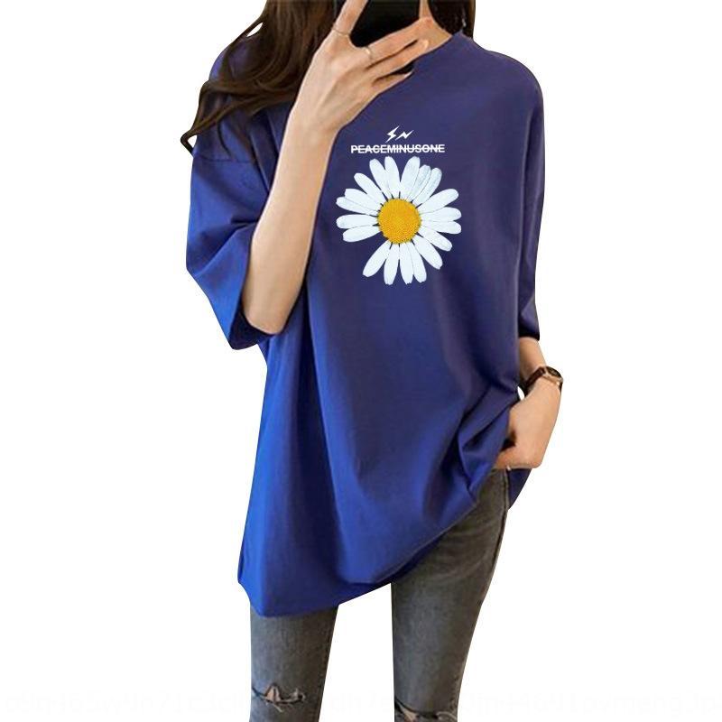 jIrdD Модный европейский большой короткими рукавами футболки футболки 2020 весна / лето Корейский стиль женщин новые модули Daisy bfstyle средней длины верхней
