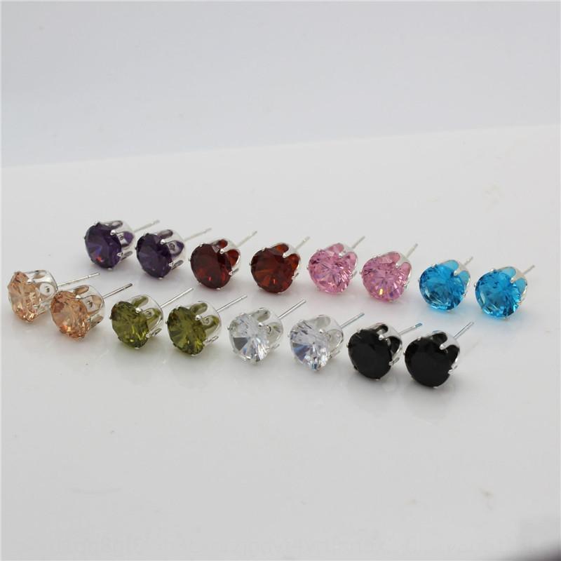 Естественный реального циркон цвета кристалл алмаза горячей продажа шесть когтя инкрустированного кристалл серьги с бриллиантами серьги защиты окружающей среды в течение одной недели 7