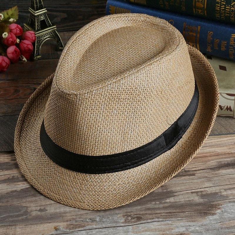 Мода Панама Соломенной шляпки женщины Mens Unisex Cap Summer Beach Sun Hat козырек Мягкая Скупая Брим Шляпа 7 цветов HHA1173 QbUm #