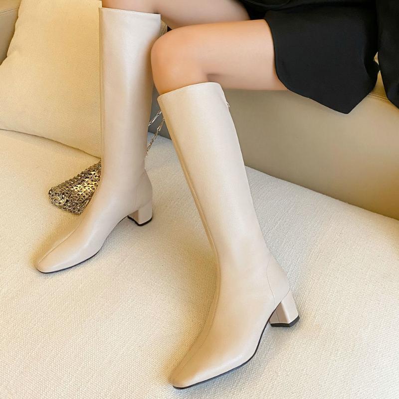 Остроконечные Toe Блок Heeled Tight сапоги Женщина Мода Zipper колено высокие сапоги женщин Роскошные из натуральной кожи Stretch Высокий черный
