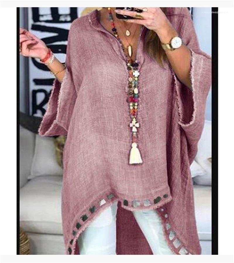 Tops Kadın Tasarımcı Artı boyutu Tişört Uzun Kollu Moda Kasetli Giyim Casual V Yaka Hollow Out Womens