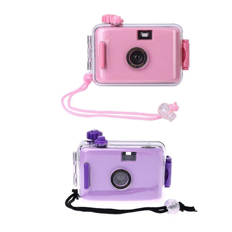 2x Kids Film Camera Vintage Film Camera Waterproof and Shockproof with Housing Case(Pink&Purple)