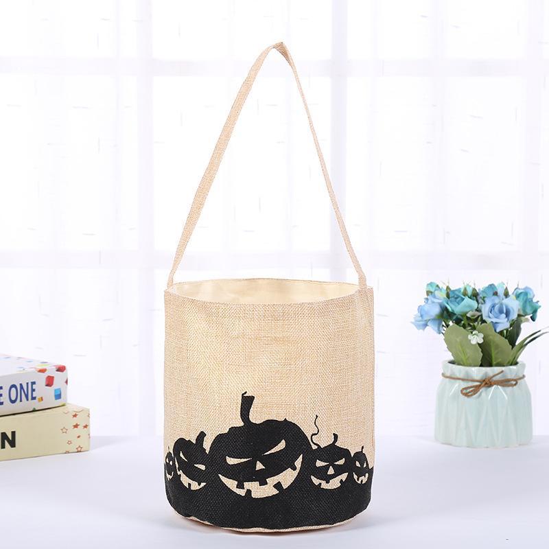 Cubo de Halloween de la lona del bolso caramelo calabaza cráneo Ghost Trick or Treat Bolsa de Halloween decoración del partido de los niños bolsa de regalo para 08