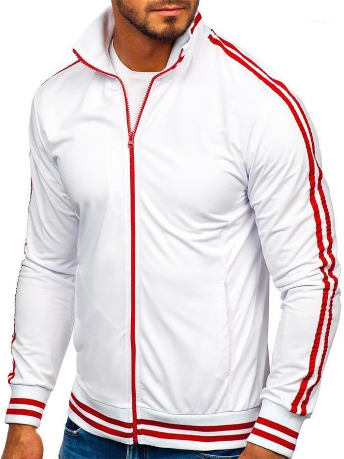 Mens Striped Panelled Frühling Jacken Mann Designer Sports Stehkragen Zipper Fly Spiel Männer Art und Weise beiläufige Mäntel