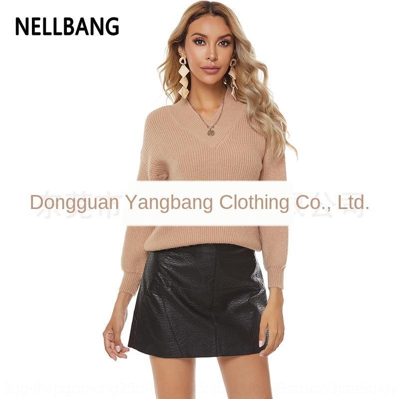 MTqo8 qodVG V-neck top lanterna das mulheres manga 2020 camisola cor pulôver das sólida Pullover Top camisola mulheres nova