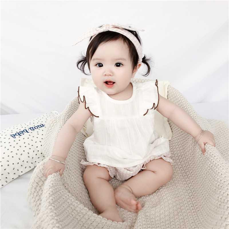 Neonato neonate che coprono l'insieme Estate principessa costume della ragazza senza maniche T-shirt Top Pantaloni Plaid fascia 3pcs Outfits