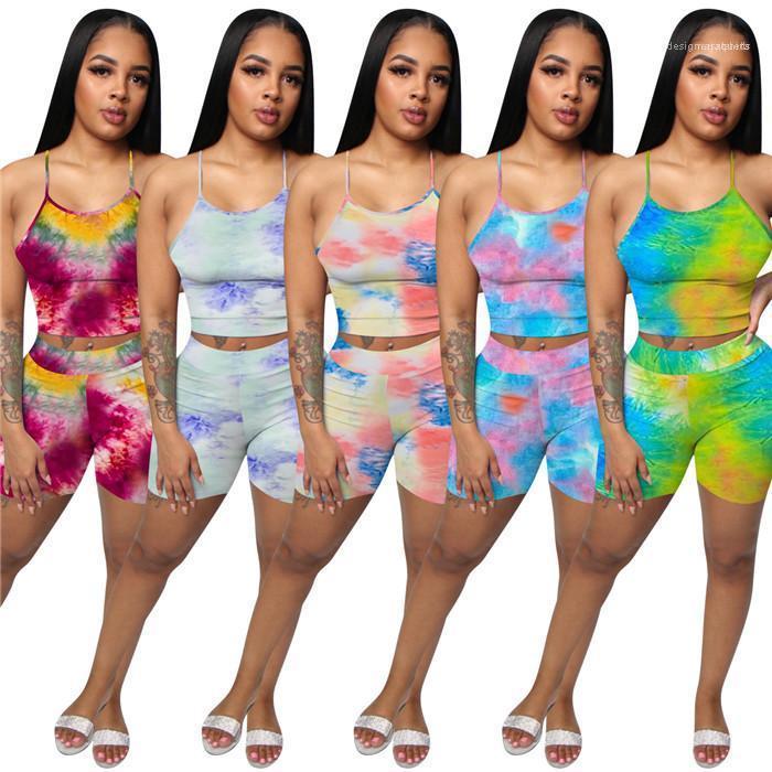 السراويل الدعاوى عالية الخصر الأزياء مجموعات الرياضة عرضي إمرأة التدرج 2PCS مصمم مثير رياضية الصيف السباغيتي حزام الصدرية مع