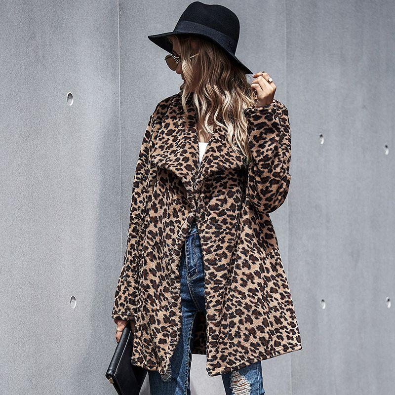 여성 코트 캐주얼 자켓 여성 플러스 크기 T200814 버클 MOVOKAKA 가을 겨울 패션 레오파드 코트 여성 긴 소매 여성 자켓 A를