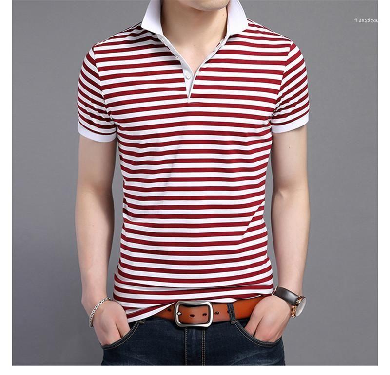 Designer imprimé rayé Polos manches courtes T-shirts Contraste Slim Tourner Couleur Mode collier vers le bas Hauts Hommes Hommes