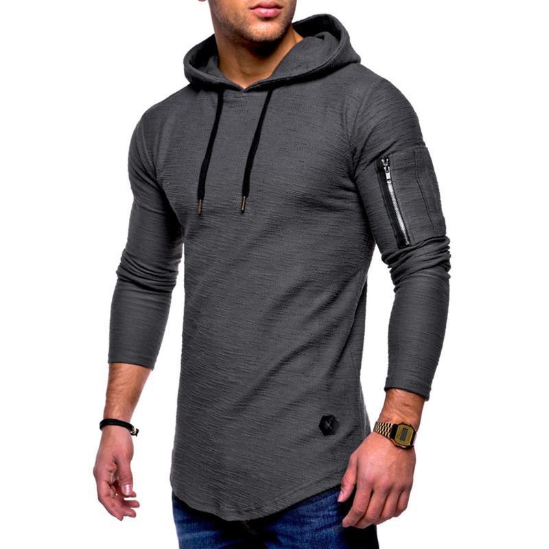 Men's Hoodies & Sweatshirts Fashion Men Long Sleeve Hooded Sweatshirt Casual Zip Solid Color Male Pullover Sling 2021 Autumn Hip Hop Top Mol