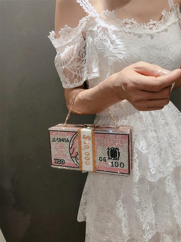 Nova dinheiro USD sacos Dollar Mulheres Design Noite Saco do partido diamante bolsa de embreagem sacos de casamento Jantar bolsas Bolsas