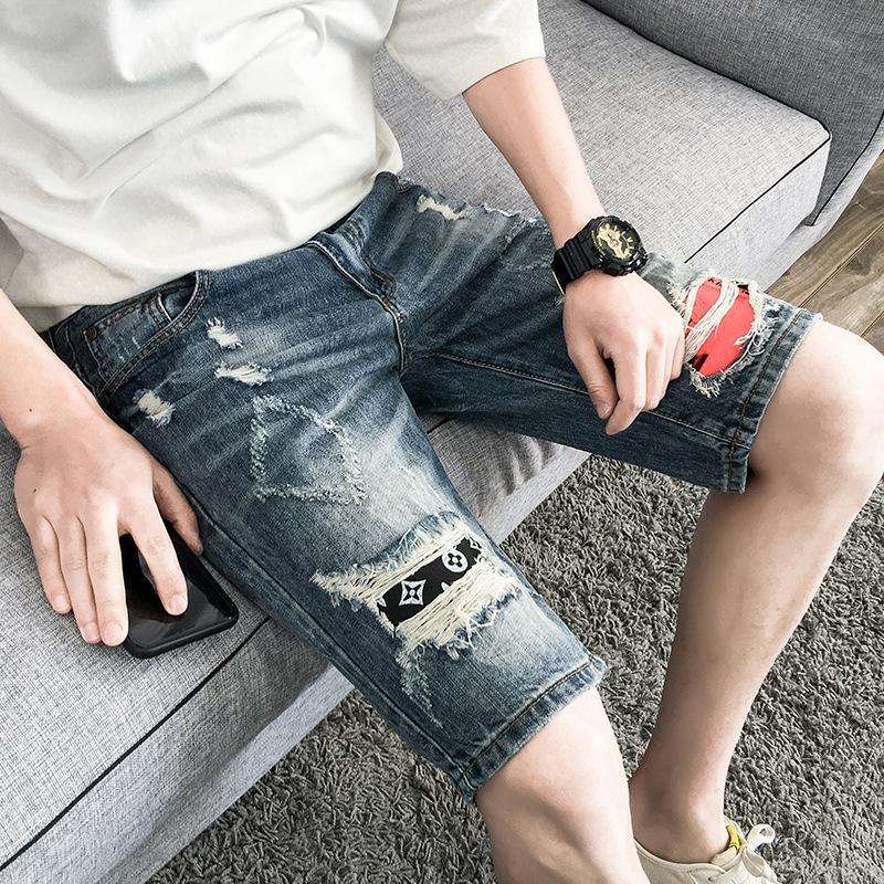 2CgBM ulfSZ vaqueros rasgados Nueve nueve pantalones cortos ins marca todo-fósforo de los hombres del verano de los cortocircuitos flojos mendigo moda juvenil hasta los tobillos croppe