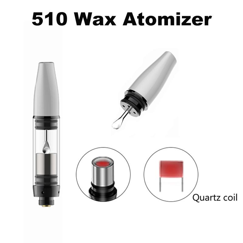 Hot Selling 510 Thread Glass Wax Atomizer Single Dual Quartz Coils Dry Herb Vaporizer Pen Dome Atomizer For Ego T Evod Battery