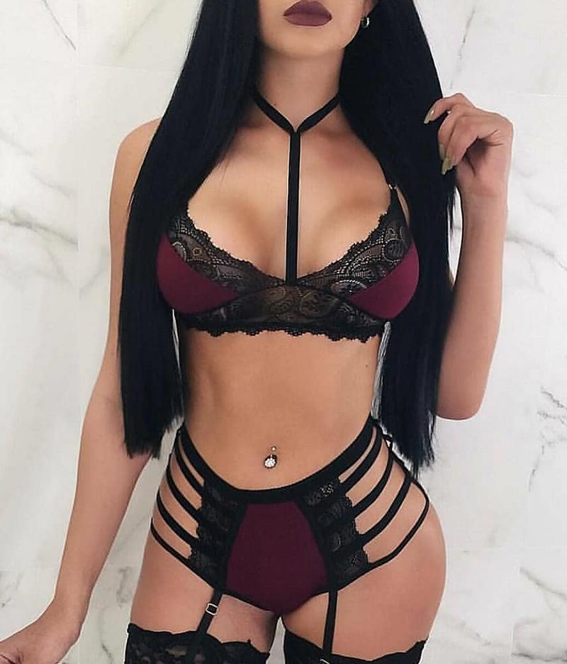 Кружева Sexy женщин дизайнер нижнего белья Бюстгальтеры и трусы женщин Комплекты выдалбливают красное вино повседневная одежда