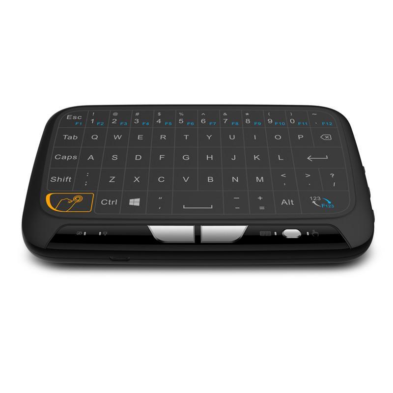 안드로이드 TV PC 용 리튬 배터리와 함께 H18 무선 키보드 USB 2.4 기가 헤르츠 고출력 무선 가상 키보드 터치 패드 마우스 에어 마우스 고무