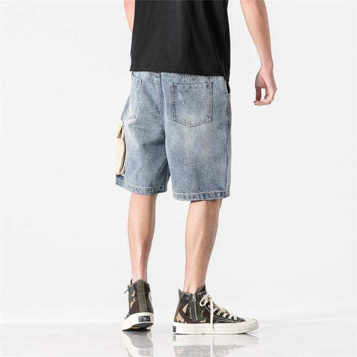 Longueur Hommes Splice Denim Shorts d'été lâche avec poche plage Pantalon court Homme genou
