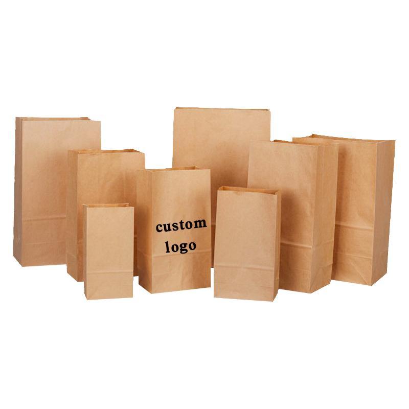 artisanat 11sizes sac en papier kraft recyclé papier brun sac à emporter sac à pain sandwich cuisson stockage Eco friendly