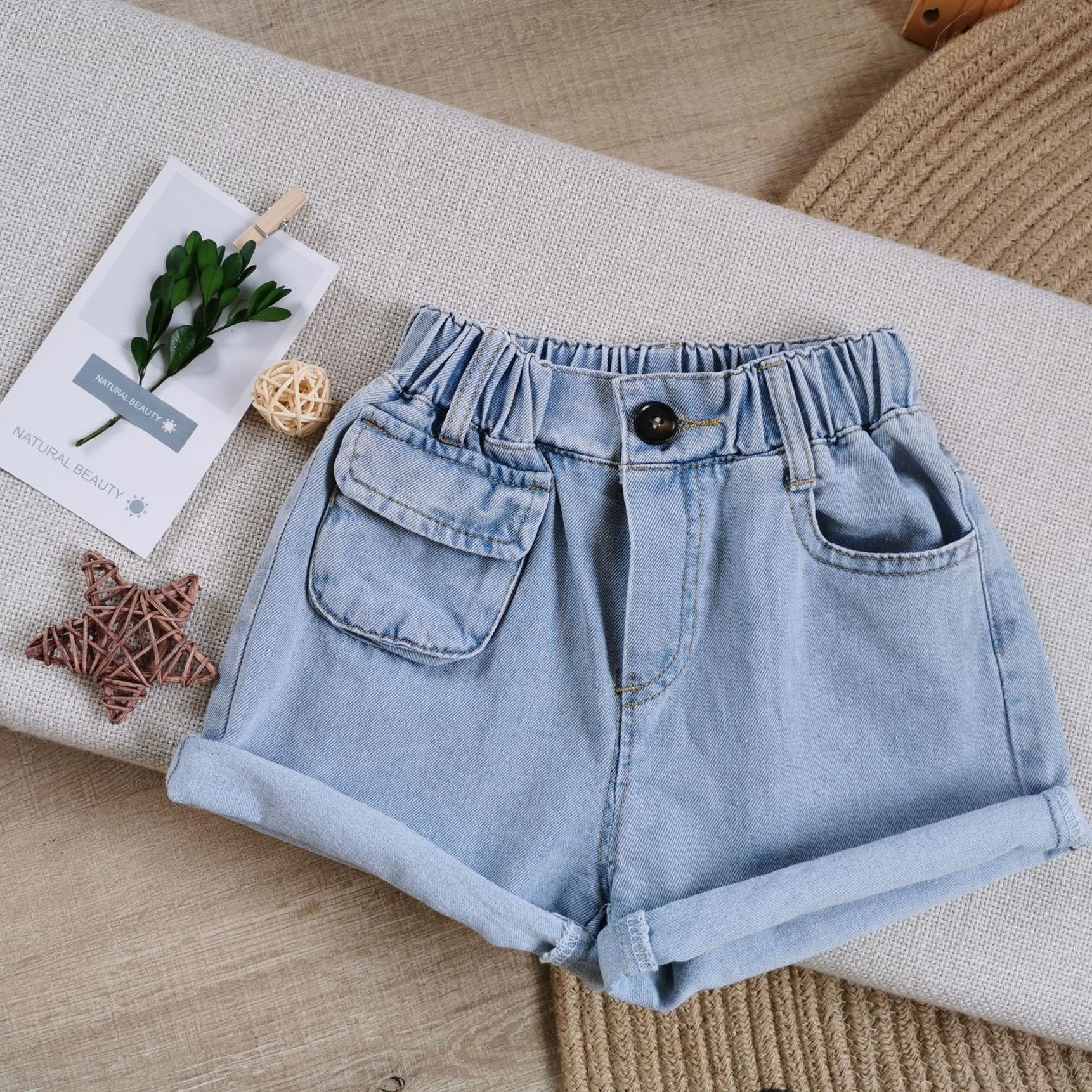 Qualité INS enfants fille Jeans Shorts Pantalons Sac élastique poches Nouveau style d'été Denim pour enfants court Pantalones Cortos enfants Hot Pant