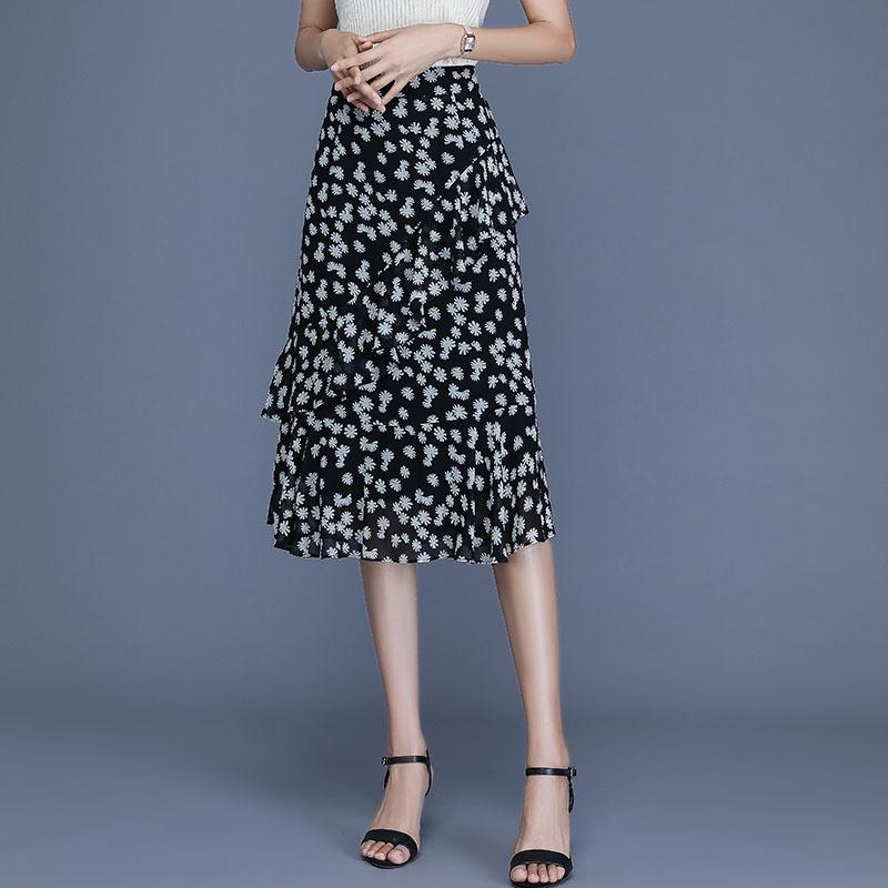 IJdu5 Sommer-Frauen Chiffon Volants Abdeckung Abnehmen Mode A- LINE Kleid lange lange unregelmäßige A- Linie Kleidrock Polka Dot s Blumen