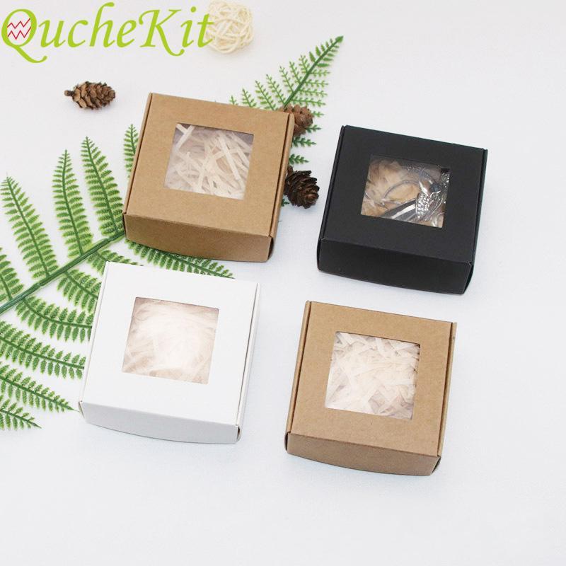 50Pcs Papier Kraft Bonbonnière PVC transparent fenêtre Soap Box mariage anniversaire de bébé de Noël Douche Chocolat Emballage cadeau Boîte T200827