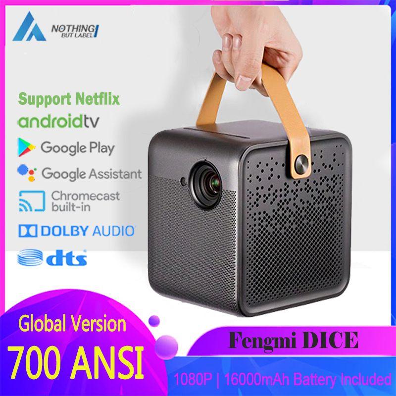 Fengmi Akıllı Projektör TV 700ANSI 1080P HD 2GB 16GB Dahili Pil Video Ev Sinema Projeksiyon DTS Bolby Orijinal Projektör DICE