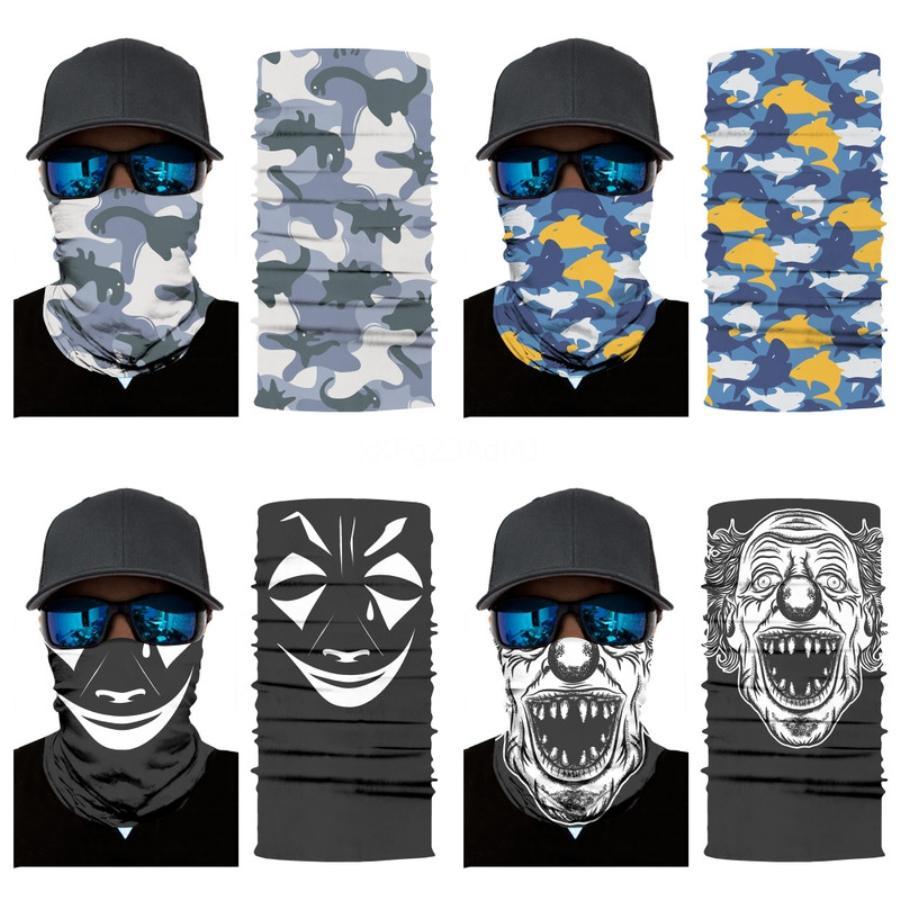 L9Bl7 NEW Магия человеческого черепа шарф 3D задействуя Headwears оголовье Мотоцикл шеи Бандана Рыбалка Бесшовные лица Рыба Бандана Череп Шарф # 930