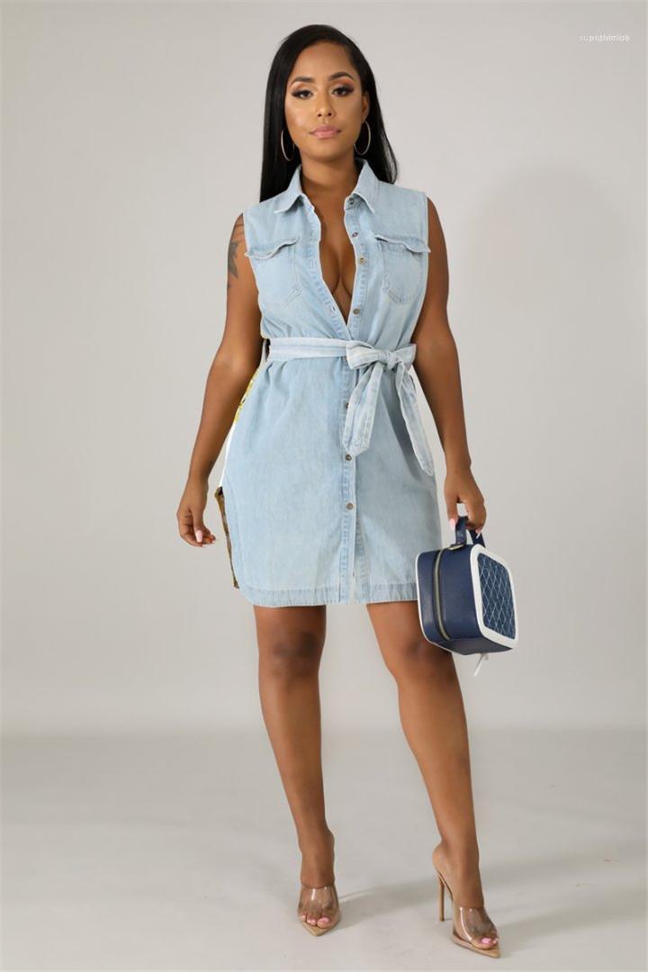 Mit Gürtel Damen-lässige Denim-Rock-Frauen Designer-Kleider Flora Printed Fashion Ärmel Sommer-Shirt-Kleid