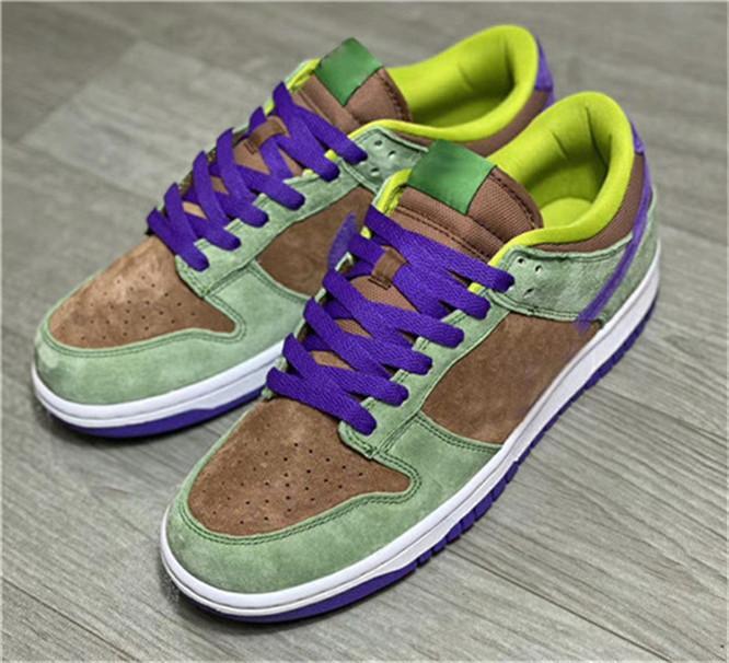 2020 Release Orijinal Dunk SP Düşük Kaplama Sonbahar Yeşil-Deep Purple Erkekler Kadınlar kutusu Ayakkabı Spor Sneakers Kaykay Koşu