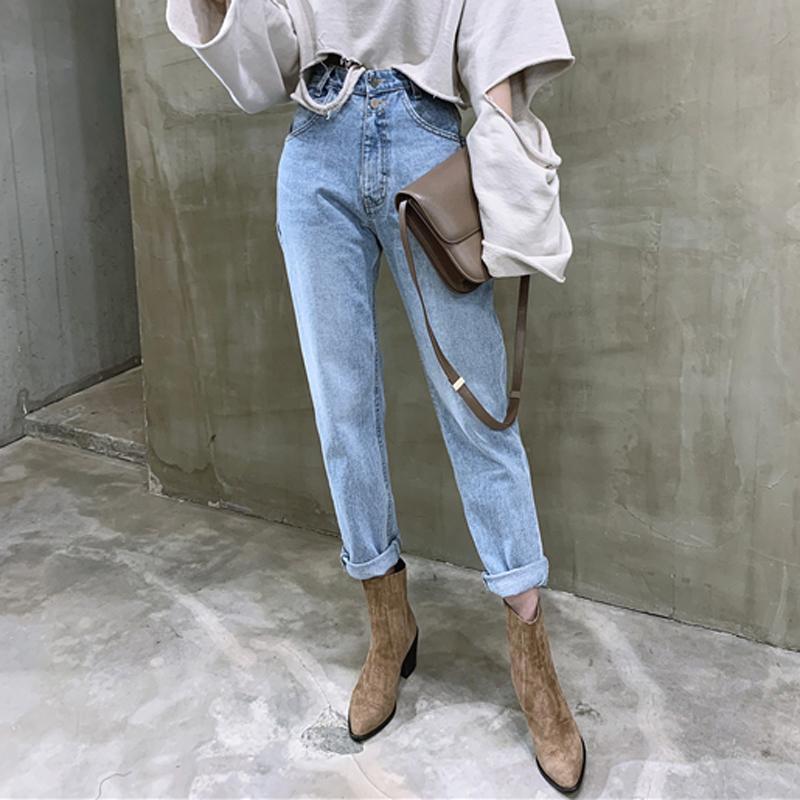 Старинные высокие талии прямые джинсы брюки для женщин уличные одежды свободно женские джинсовые джинсы пуговицы на молнии дамы 2020