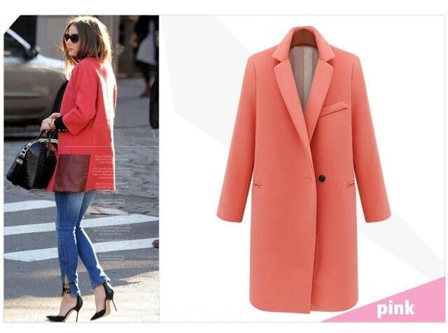 Primavera Nova moda estrela terno colarinho longo casaco de lã de lã casaco de lã roupas femininas