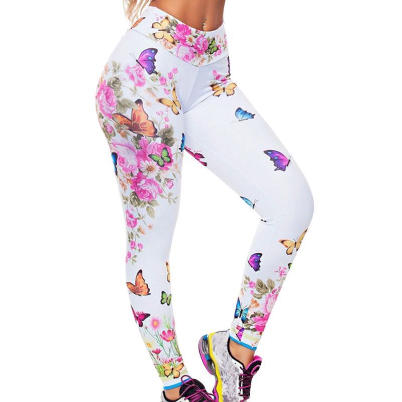 Digital Print Slim Leggings farfalla Stampa pantaloni sexy push ghette a vita alta di sport di salire le donne fitness Leggins Mujer Y200904