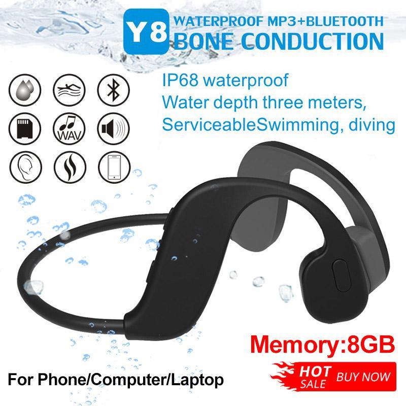 Y8 Bluetooth Auricolare MP3 Lettore IP68 Impermeabile 8 GB Cuffie senza fili Swimming Sport Auricolari Stereo Altoparlante per telefono Computer per computer