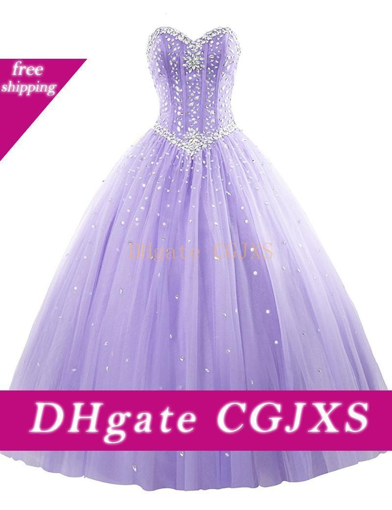 Boncuklu Kristal Balo Sweetheart Quinceanera Modelleri 2020 Beyaz Kraliyet Mavi Nane Lavanta Kat Uzunluk Balo Abiye vestidos de Fiesta