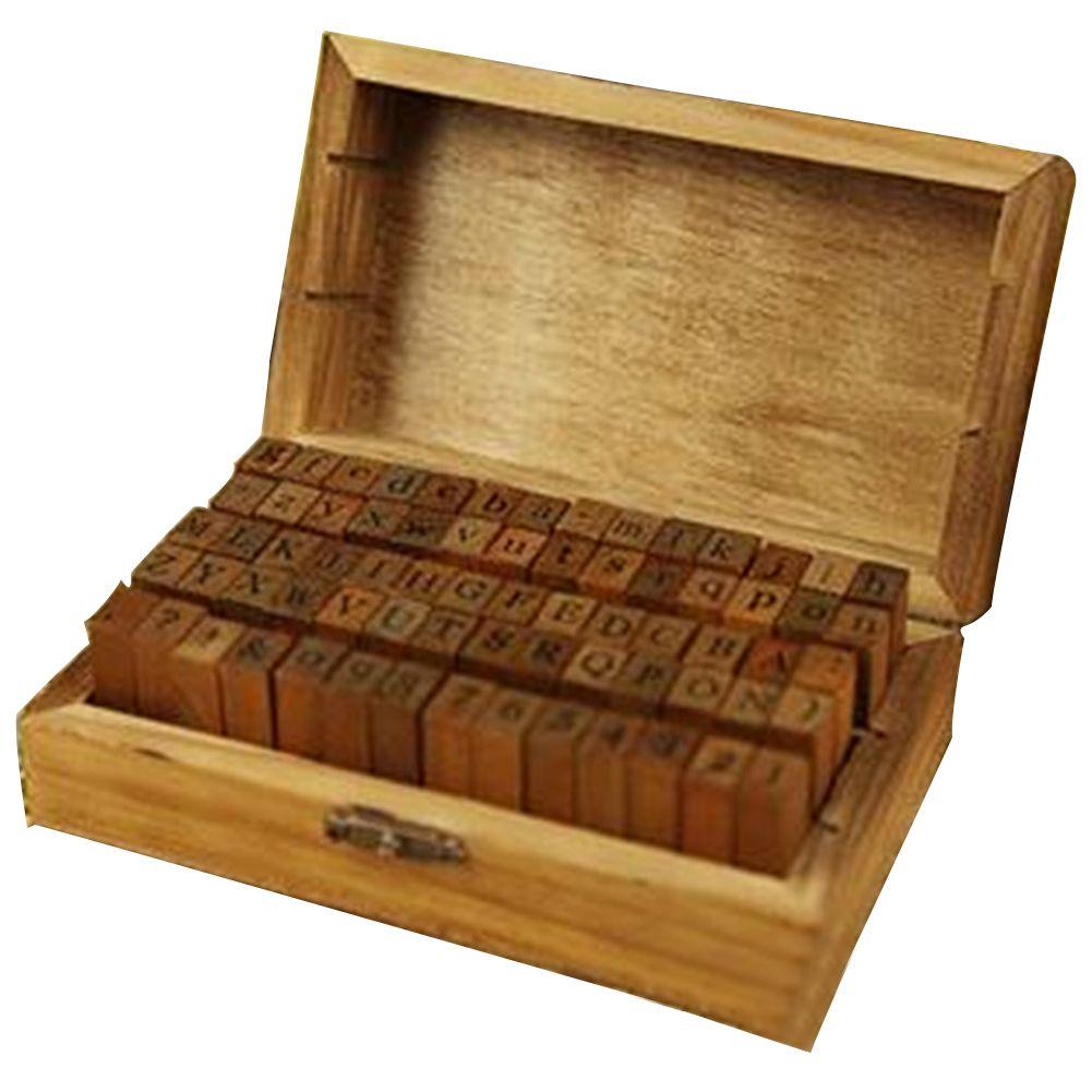 70 PCS письмо DIY Set Craft Stamp символ алфавит Номер деревянный с деревянной коробкой