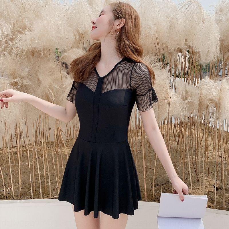Черных женщины сексуального живота покрытия похудения Ins сказочный стиль вентилятор платье купальник небольшая грудь собрала один цельную юбку горячего источника купальника GgkM6