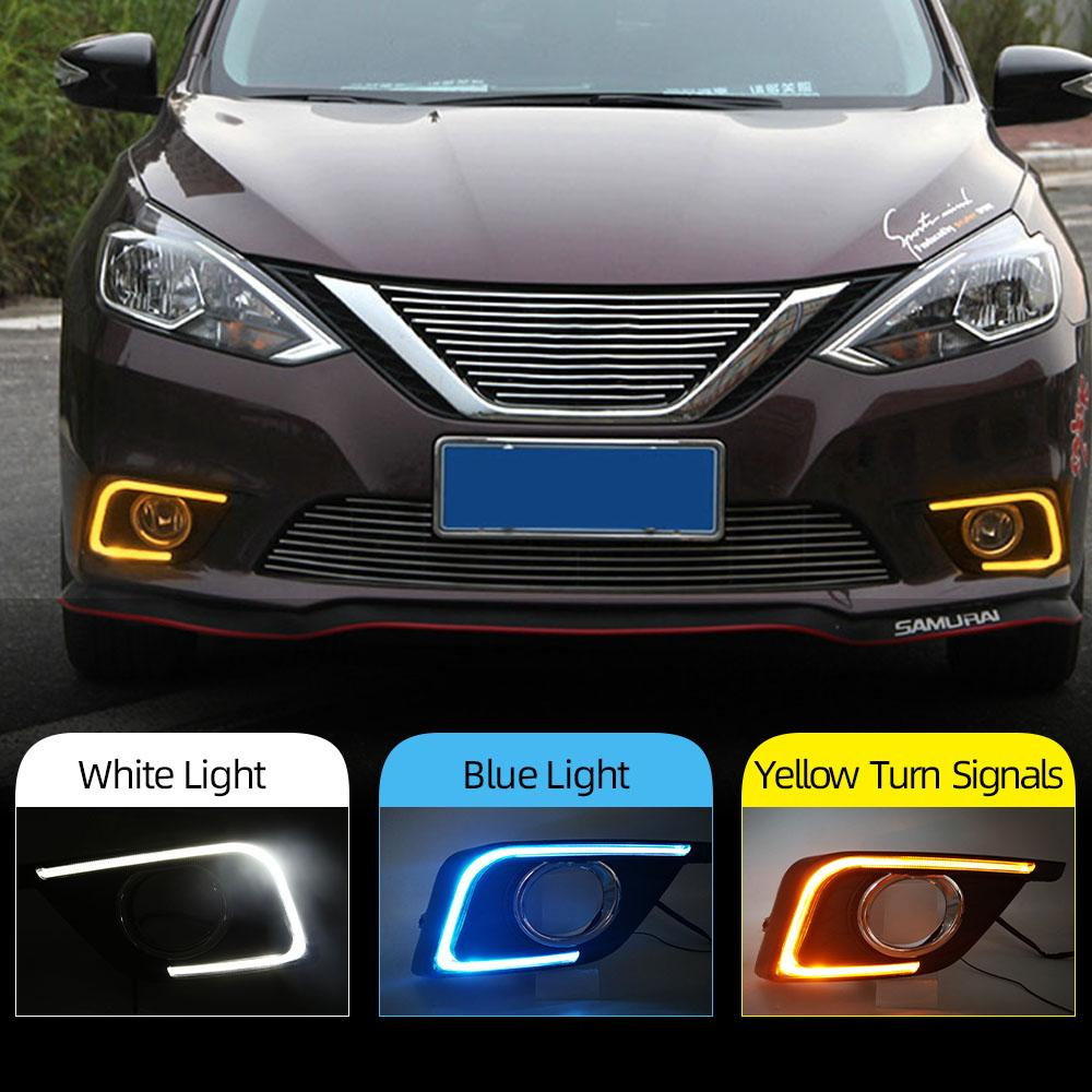 2PCS DRL Para Nissan Sentra Sylphy 2016 2017 2018 2019 LED luzes diurnas Daylight Nevoeiro cobertura de luz do carro styling