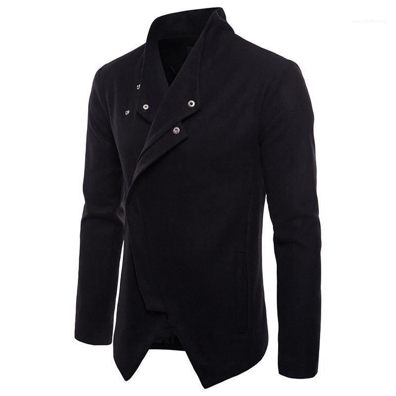 Yaka Uzun Kollu Erkek Palto Casual Bölünmüş Erkek Outerwears Tasarımcı Erkek ceketler Bahar Katı Renk Standı
