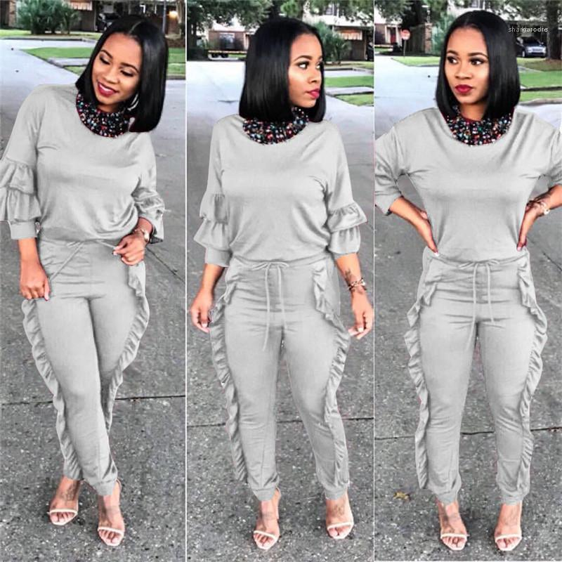 Crew Neck Tops Womens 2 Piece Outfits Spring Womens Two Piece Pants Solid Color Pencil Pants