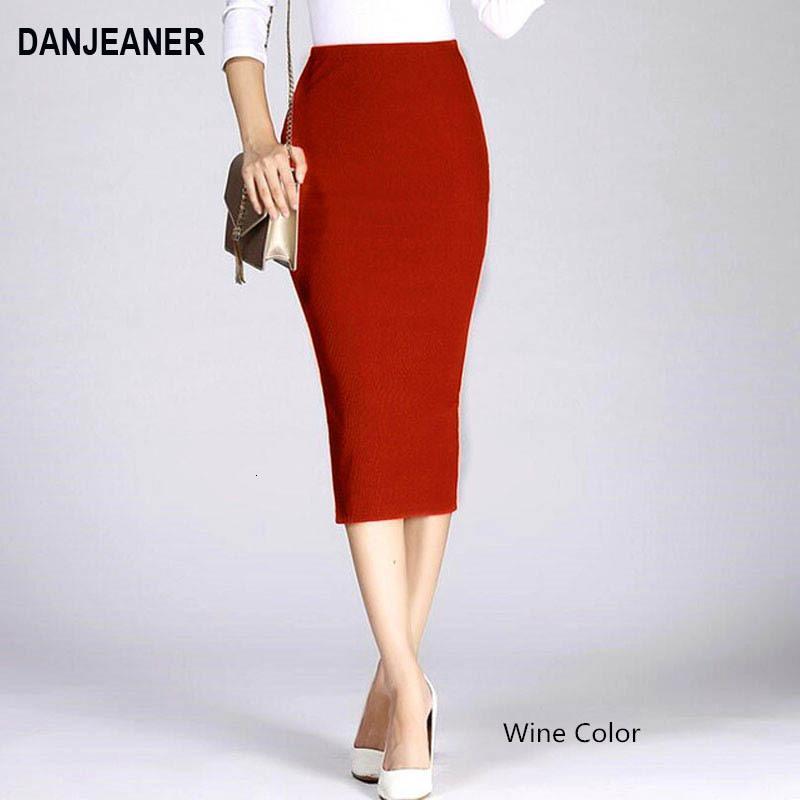 Danjeaner Stretch dünne gestrickte Röcke für Frauen hohe elastische Paket-Hüfte-Mittler-Kalb Fest Bleistift-Rock-Lady Rib Baumwolle Maxiröcke