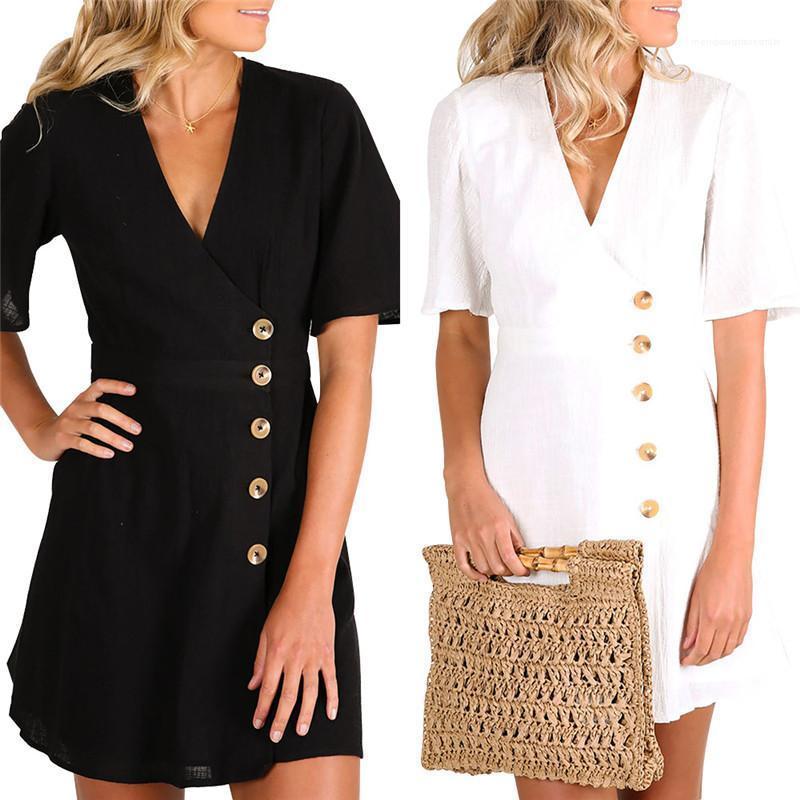 Tek Breasted Bir Çizgi Elbise OL Stil Bayan Giyim Yaz Kadın Tasarımcı Gömlek Elbise Kısa Kol V Yaka