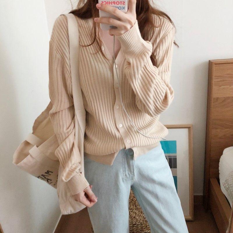 Korean chic neue Art und Weise Französisch-Stil elegant einfache V-Ausschnitt Krampf Taille schlank langer Hülsenwollmantel Mantel gestrickt