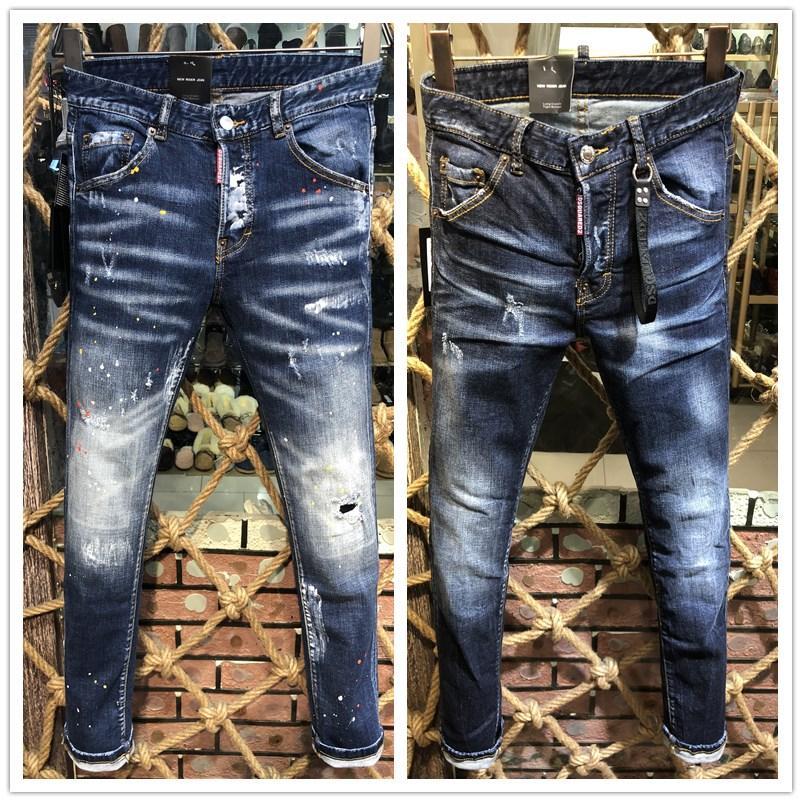 2020 gli ultimi jeans di vendita di magro per gli uomini strappati fori pantaloni jeans Motociclista Denim Uomo Marca di moda Designer Hip Hop Jeans Uomo