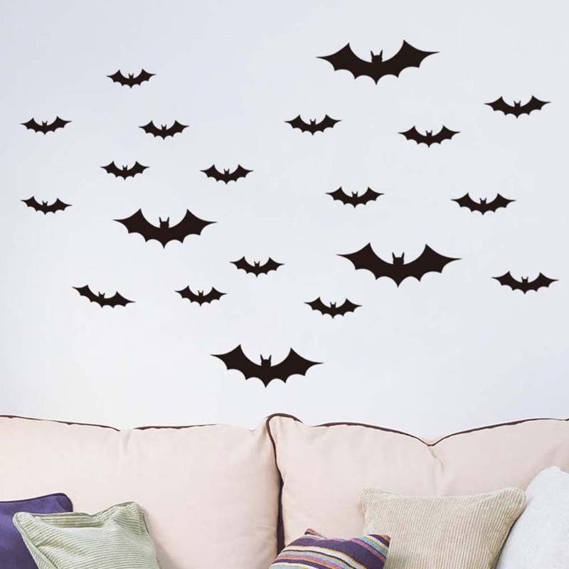 Duvar Etiketler Noel Süsleri Home For Odası Yatak Odası Siyah Diy Pvc Bat Duvar Sticker çıkartma Cadılar Bayramı Dekorasyon 36pcs 3d