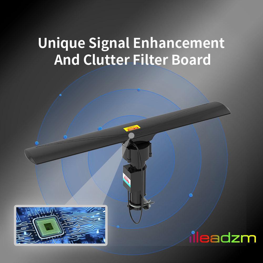 Amplificador de señal de TV al aire libre HD de antena con control remoto 40-860MHz 350 ° Rotating UV de doble segmento 20 ± 3dB Negro