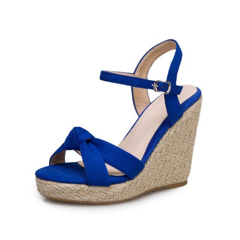 Sandálias das mulheres do verão 2020 de espessura inferior grandes cunha tamanho sapatos de salto moda casual sapatos de salto alto do dedo do pé aberto sapatos de espessura inferiores mulheres Y200620