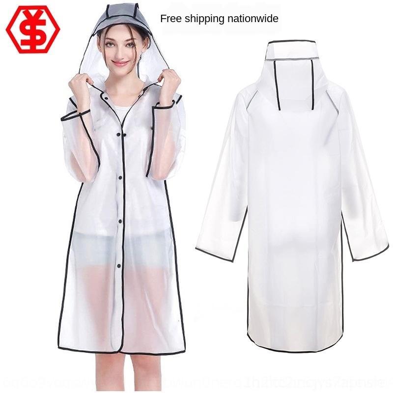 ukg0x Fashion eva women lace long transparent raincoat lace raincoat adult men and ins